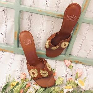 CIRCA JOAN & DAVID RUST BROWN EMBROIDERED SLIDES